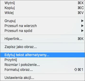 Opcja Edytowanie tekstu alternatywnego w menu kontekstowym w programie PowerPoint dla komputerów Mac