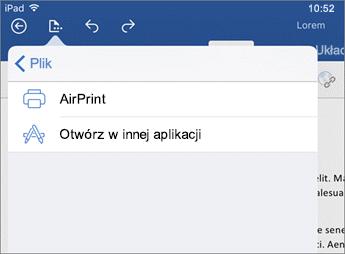 Okno dialogowe Drukowanie w programie Word dla systemu iOS umożliwia wydrukowanie dokumentu bądź otwarcie go w innej aplikacji.