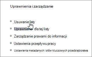 Okno dialogowe Ustawienia listy z wyróżnioną pozycją Usuń