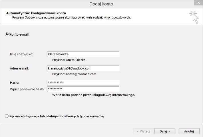 Dodawanie konta e-mail w ramach nowo utworzonego profilu programu Outlook za pomocą funkcji Automatyczna konfiguracja konta