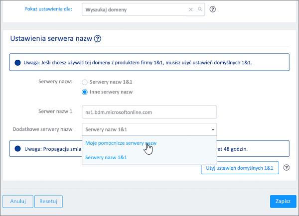 Wybieranie pozycji My secondary name servers (Moje pomocnicze serwery nazw) na liście