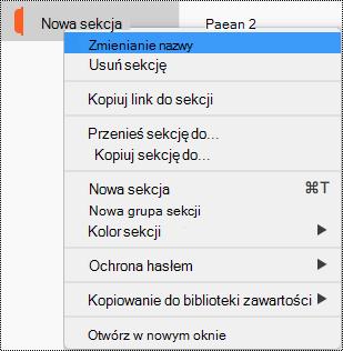 Menu kontekstowe sekcji z wyróżnionym poleceniem Zmień nazwę sekcji.