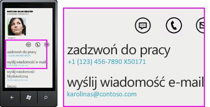 """Zrzut ekranu: aktywności, takie jak """"zadzwoń do pracy"""", w kliencie programu Lync dla urządzeń przenośnych"""