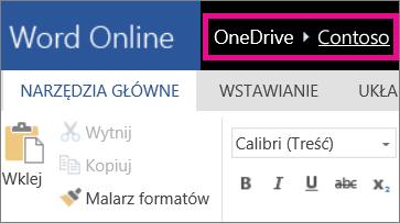 Zrzut ekranu przedstawiający linki nawigacji do stron nadrzędnych w aplikacji Word Online
