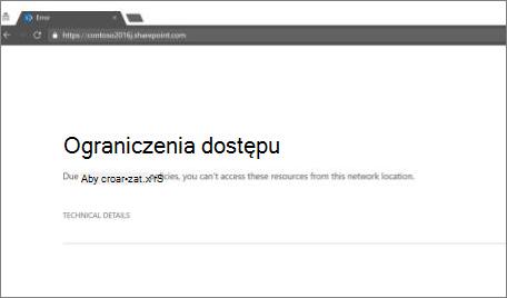 Wiadomość ograniczenia dostępu w przeglądarce