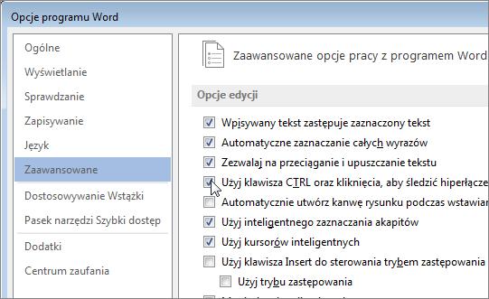 Okno dialogowe Opcje programu Word