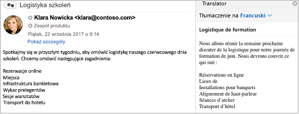 Ta wiadomość została przetłumaczona z angielskiego na francuski przy użyciu dodatku Translator dla programu Outlook