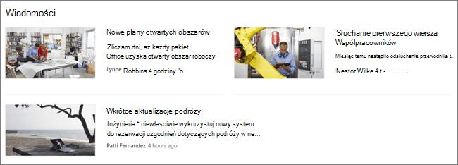 Screencap składnika Web Part wiadomości w witrynie programu SharePoint, na którym są filtrowane wpisy