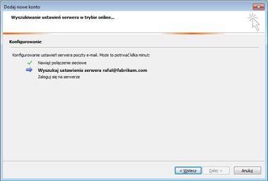 Okno dialogowe Dodawanie nowego konta z informacją o konfigurowaniu ustawień serwera poczty e-mail