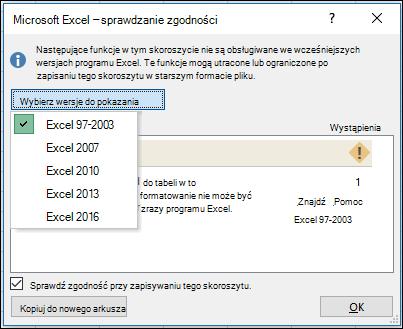 Okno dialogowe sprawdzania zgodności w programie Excel