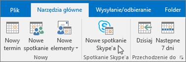 Planowanie spotkania w programie Skype dla firm