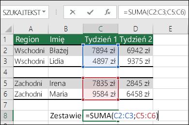 Używanie funkcji SUMA w zakresach nieciągłych. Formuła w komórce C8 to =SUMA(C2:C3;C5:C6). Możesz również użyć nazwanych zakresów, więc formuła miałaby postać =SUMA(Tydzień1;Tydzień2).
