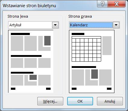 Dodawanie stron do biuletynu przy użyciu okna dialogowego Wstawianie stron biuletynu.