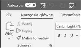Przycisk przełączania funkcji Autozapis w pakiecie Office