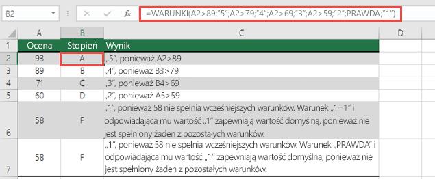 """Funkcja WARUNKI — przykład dotyczący ocen. Formuła w komórce B2 to =WARUNKI(A2>89;""""5"""";A2>79;""""4"""";A2>69;""""3"""";A2>59;""""2"""";PRAWDA;""""1"""")"""