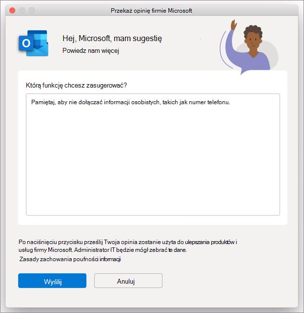 Okno dialogowe Opinie dotyczące programu Outlook w systemie MacOS