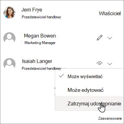 Zrzut ekranu przedstawiający sposób zatrzymać udostępnianie z jedną osobą w usłudze OneDrive dla firm