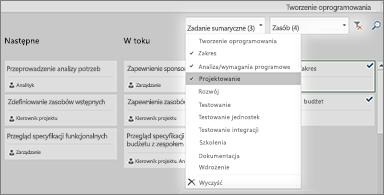 Tablica zadań z listą rozwijaną filtru