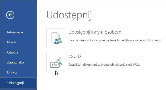 Osadzanie dokumentu pakietu Office