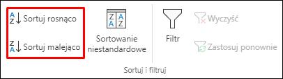 Przyciski Sortuj rosnąco lub malejąco w programie Excel na karcie Dane