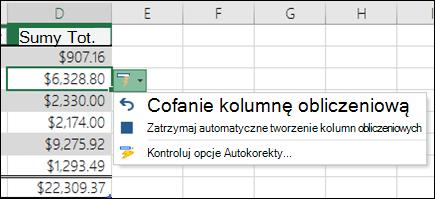 Opcja cofnięcia kolumny obliczeniowej po wprowadzeniu formuły