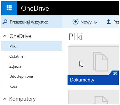 Zrzut ekranu przedstawiający folder Dokumenty w usłudze OneDrive.