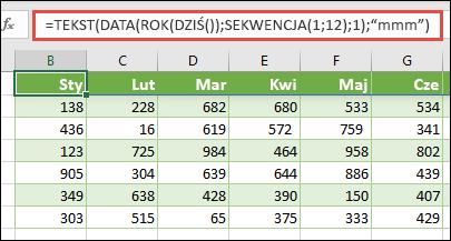 Używanie kombinacji funkcji tekst, Data, rok, dziś i sekwencja w celu utworzenia dynamicznej listy 12 miesięcy