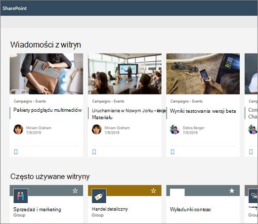Wiadomości na stronie początkowej programu SharePoint