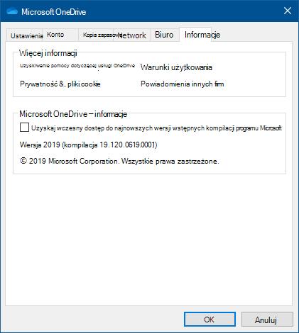 Informacje o interfejsie użytkownika usługi OneDrive