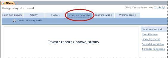 Centrum raportów szablonu bazy danych Usługi