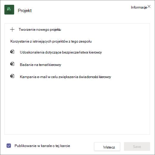 Zrzut ekranu: okno Project dialogowe w programie Teams