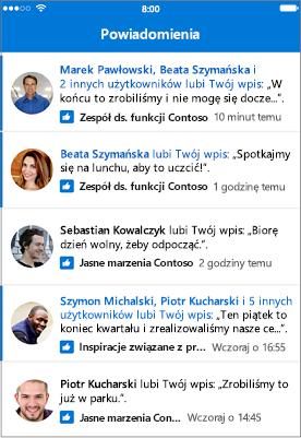 Aplikacja mobilna Outlook Groups, powiadomienia