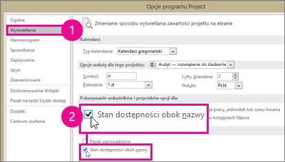 Opcje programu Project, kartę Wyświetlanie