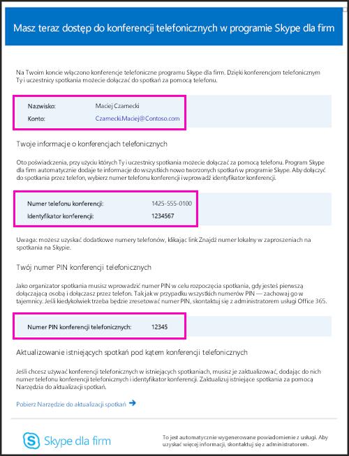 Wiadomość e-mail dla konferencji telefonicznych