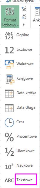 Format tekstu dla liczb