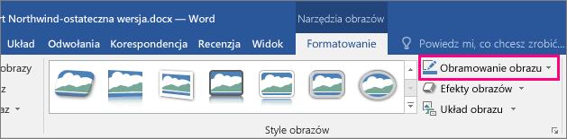 Wyróżniona opcja Obramowanie obrazu na karcie Narzędzia obrazów > Formatowanie