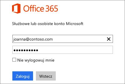 Zrzut ekranu przedstawiający okienko logowania usługi Office 365