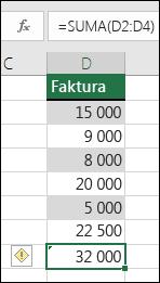 Program Excel wyświetla błąd, gdy formuła pomija komórki z zakresu
