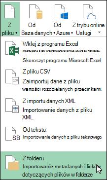 Dodatek Power Query > z pliku > Opcje folderów z