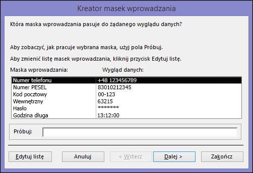 Kreator masek wprowadzania w bazie danych programu Access dla komputerów stacjonarnych