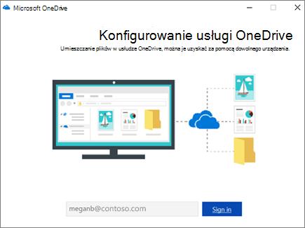 Ekran konfiguracji usługi OneDrive
