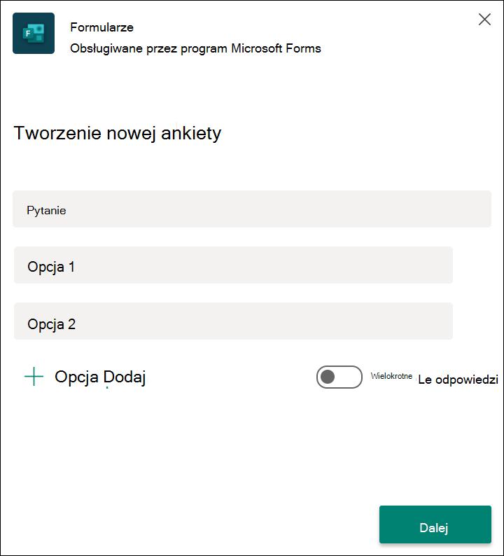 Szybkie wyniki ankiety formularza w aplikacji Microsoft Teams