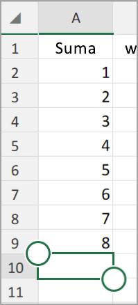 Tablet z systemem Android w programie Excel autoSumowanie