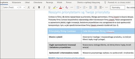 Formatowanie tekstu w aplikacji Word Online