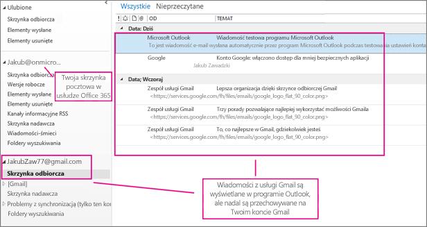 Po dodaniu konta usługi Gmail w programie Outlook będą wyświetlane dwa konta