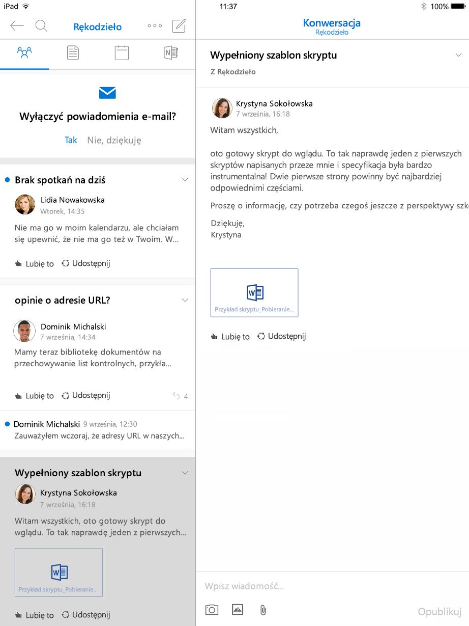 Widok konwersacji w grupach programu Outlook dla tabletu iPad