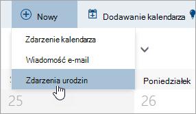Zrzut ekranu przedstawiający menu Nowy z kursor myszy na opcji dla zdarzenia urodzin