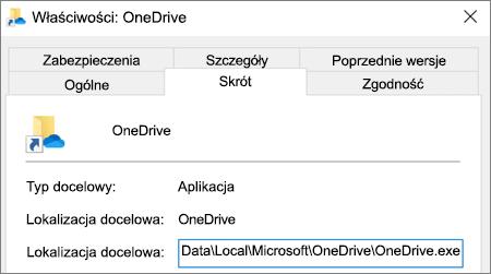 Zrzut ekranu pokazujący menu właściwości aplikacji OneDrive.