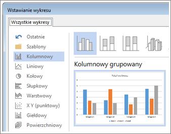 Okno dialogowe Wstawianie wykresu z różnymi typami wykresów oraz możliwością wyświetlenia podglądu