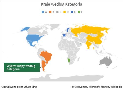 Wykres mapy w programie Excel według kategorii